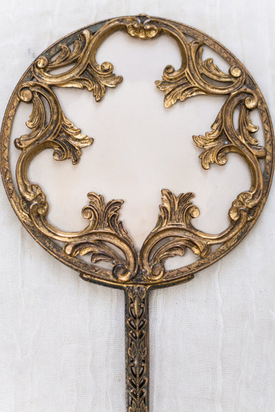 Antique Ornate Gold Hand Mirror