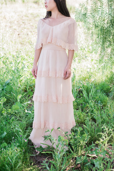 1970s Light Peach Pleated Tiered Gown - S