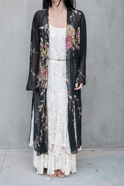 Vintage Black Floral Print Split Duster - One Size