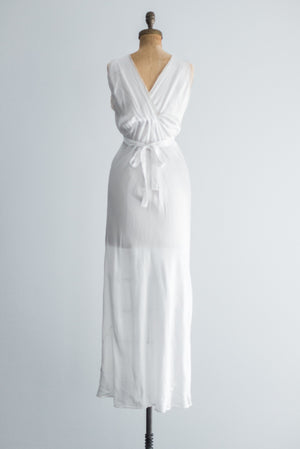 1930s Silk and Lace Bias Cut Gown - S