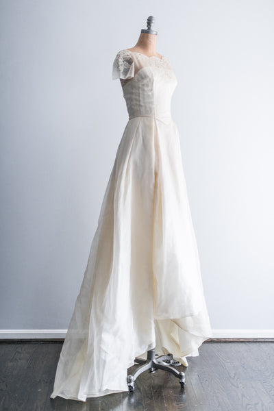 1950's Silk Organza Lace BeadedWedding Gown - XS/S