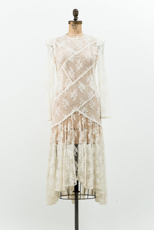 1980s Dropped Waist Lace Dress - M
