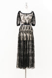 Antique Black Silk Lace Sheer Dress - S