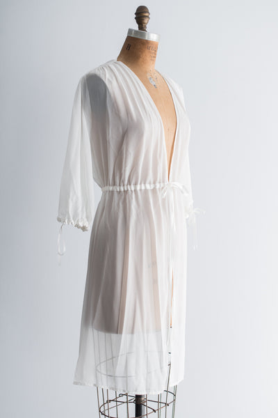 Vintage Ivory Short Poet Sleeves Sheer Chiffon Robe - S/M
