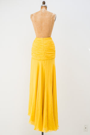 Naeem Khan Silk Yellow Skirt - XS/S