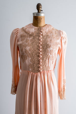 1940s Silk Satin and Lace Dressing Gown - S/M