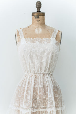 1950s Sheer Embroidered Slip Dress - XS