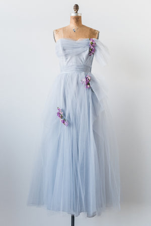 1950s Blue Tulle Gown - S