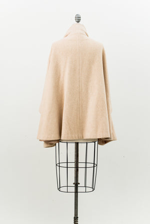 1950s Wool Cape Coat - One Size