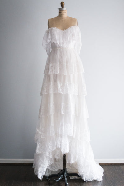 1950's Lace Off the Shoulder Gown - S