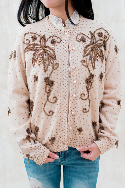 1950s Beige Cashmere Cardigan with Copper Pearl Beads - M