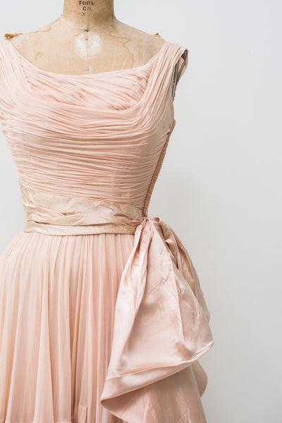 1950s Ceil Chapman Rose Pink Silk Chiffon Dress - XS