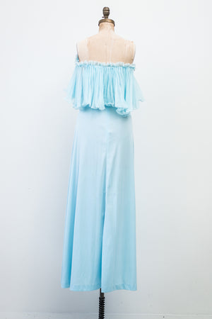 1970s Pleated Chiffon and Nylon Off-the-Shoulder Dress - S/M