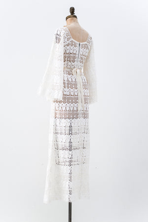 1970s Bell Sleeves Crochet Lace Gown - M