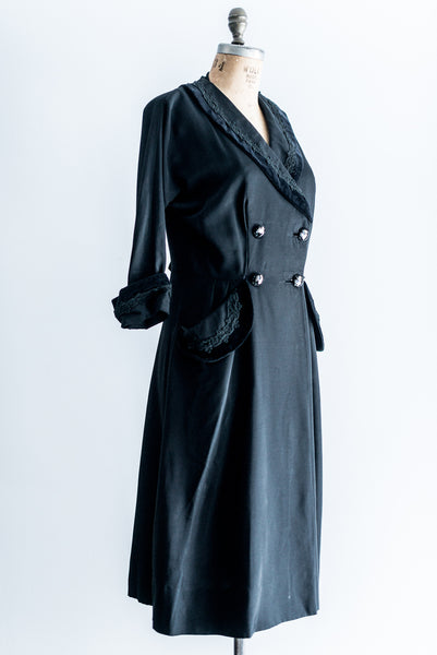 1940s Black Double-Breasted Coat - M/L