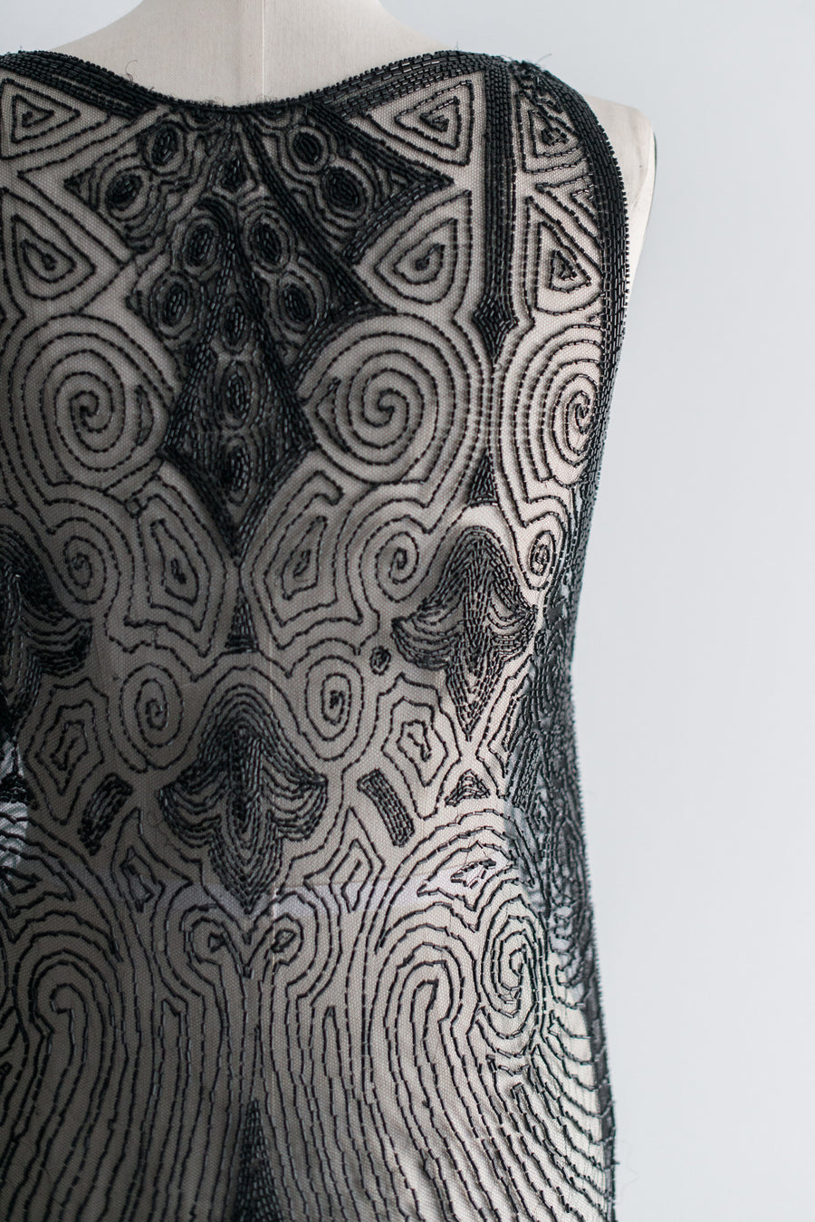 1920s Tabbard Net Flapper Dress - S/M