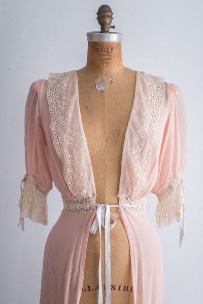 1930s Pink Chiffon Dressing Gown - S/M