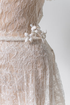 1930s Sheer Ivory Silk Lace Gown - XS/S