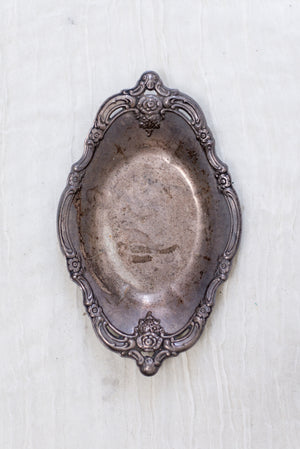 Antique Floral Edge Metal Tray