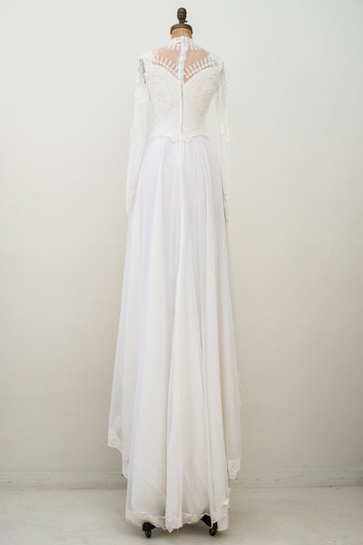 1970s Long Sleeves Lace and Chiffon Gown - S