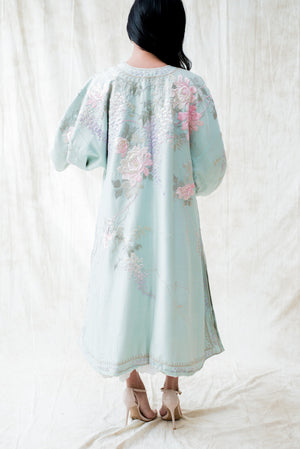 RARE 1920s Light Blue Silk Robe - M