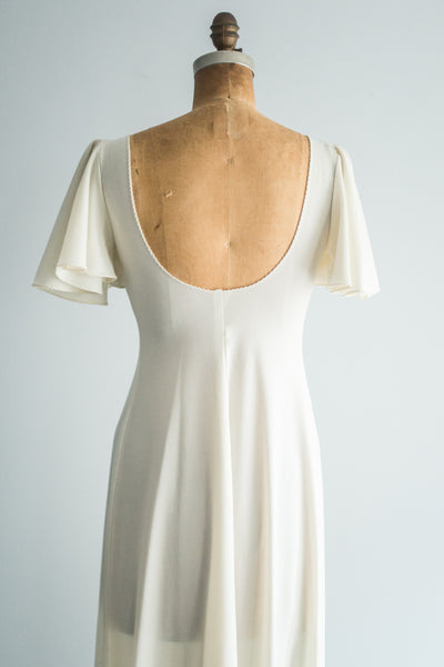 1970s Poly Flutter Sleeve Dress - S/M