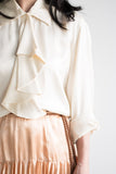 Vintage Silk Blouse with Ruffled Front - S/M