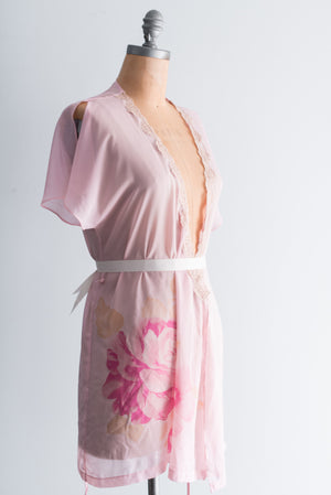 Chiffon Floral Roses Sleeves Robe - S/M