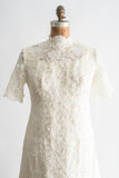 1960s Corded Lace and Silk Organza Mod Gown - S/M