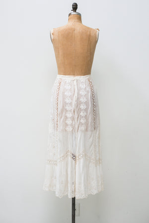 Antique Cotton Muslin Embroidered Skirt- M/L