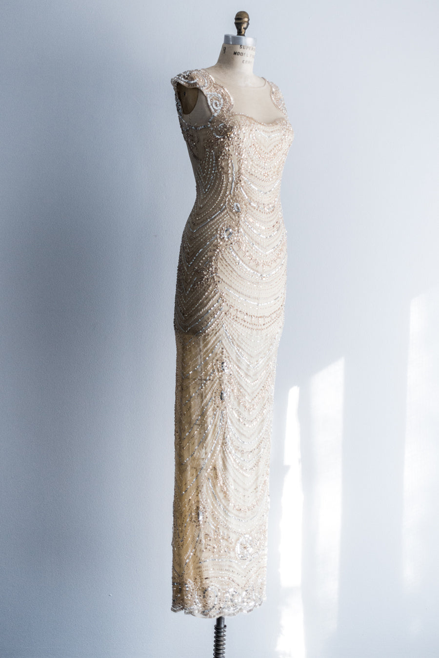 Cream, Nude and Gold Beaded Gown - S/4-6