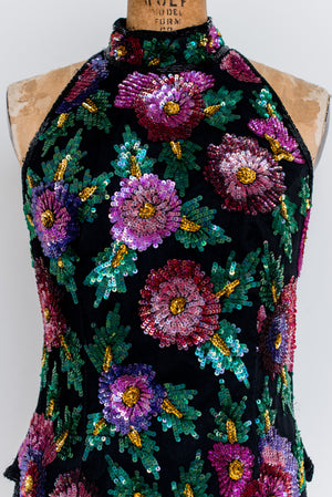 1980s Silk Beaded Top - S/M