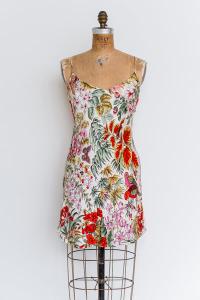 1980s Silk Floral Slip Dress - XS/S