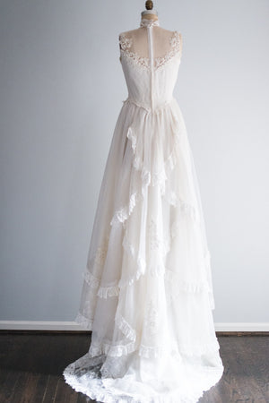 1980's High Neck Wedding Gown - S