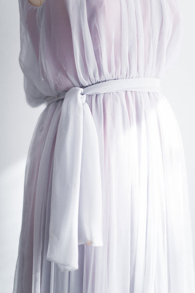 1960s Lavender and Pink Chiffon Dress - S