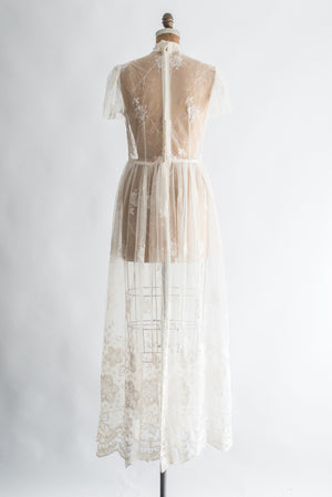 1980s Sheer Needle Lace gown - M/L