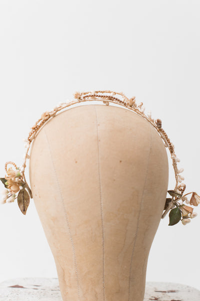 1920s Wax with Pearl Beads Tiara  - One Size