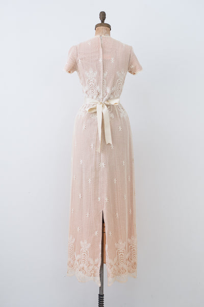 1970s Short Sleeves Crochet Gown - XS/S