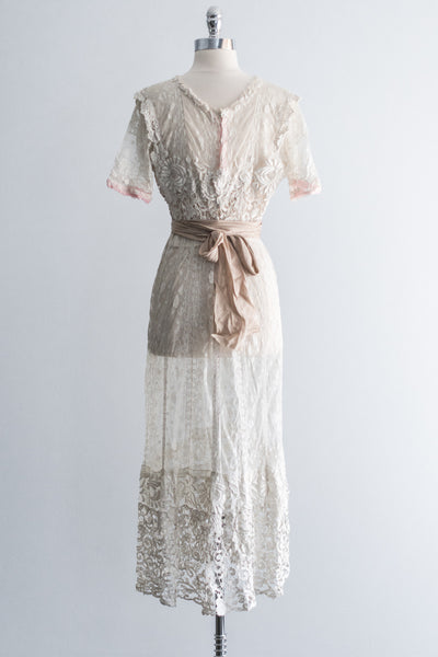 Edwardian Embroidered Mixed Lace Dress - S/M