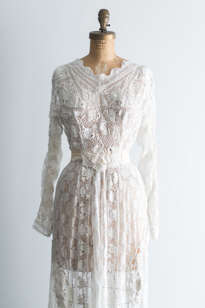 Edwardian Irish and Valenciennes Lace Lawn Dress - M