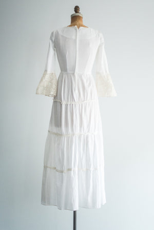 1970s Cotton Gauze Dress - S