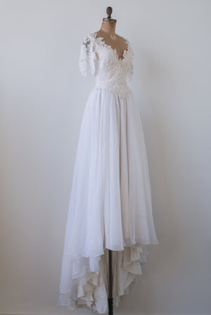 1970s Chiffon Beaded Gown - S