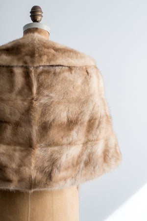 1950s Light Brown Mink Stole/Wrap - One Size