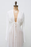 Vintage Pleated Front Chiffon Dressing Robe - S/M