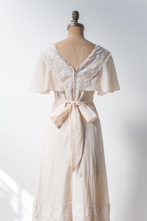 1970s Ivory Flutter Sleeves Wedding Dress - S