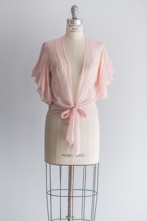 1930's Silk Chiffon Wrap Jacket - M