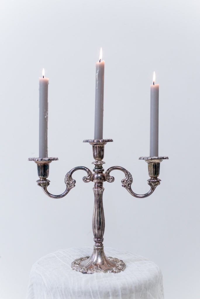 Vintage Silver Plated Candelabra ... : silver plated candle holders - pezcame.com