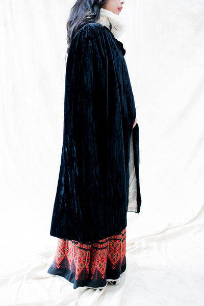 1940s Velvet and Ermine Cape - One Size