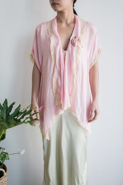 1920s Pink Silk Jacket/Top - S