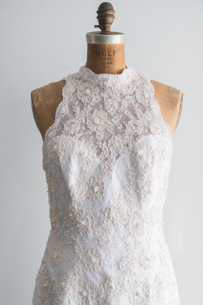 1980s Lace Beaded Wiggle Gown - S/M